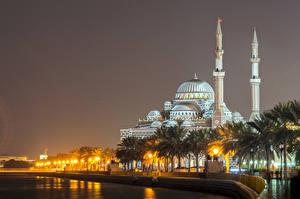 Фотографии ОАЭ Храмы Вечер Реки Мечеть Пальмы Уличные фонари Al Noor Mosque Sharjah