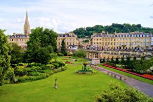 Картинки Англия Дома Парк Газоне Bath Города