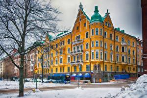 Фотография Финляндия Хельсинки Дома Зима Улица Снег Города