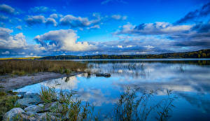 Фото Финляндия Речка Небо Трава Облака
