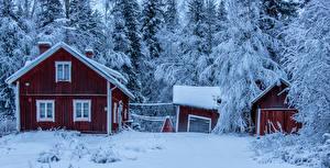 Фото Финляндия Зима Здания Снег Isokyla Ostrobothnia Города