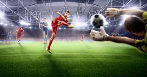 Фотография Футбол Мужчины Газон Руки Мяч Стадион Спорт
