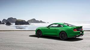 Картинки Форд Зеленых Сбоку 2018 Fastback Mustang GT авто