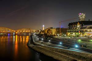 Фотографии Германия Кёльн Здания Реки Мост Ночью Уличные фонари