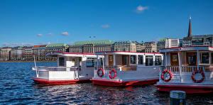 Фото Германия Гамбург Здания Речка Пирсы Речные суда