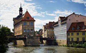 Фотография Германия Дома Речка Мосты Бавария Bamberg