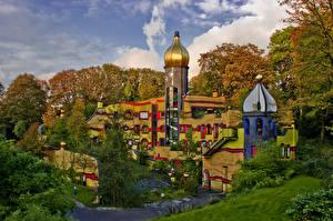Обои Германия Парки Дома Осенние Дизайн Essen Grugapark Города