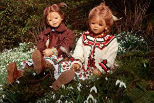 Фото Парки Подснежники Галантус Девочки Двое Grugapark Essen