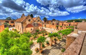 Фото Греция Храмы Монастырь Здания HDRI Crete Arkadi Monastery