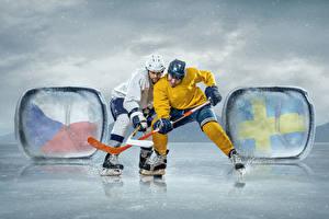 Картинка Хоккей Мужчины Вдвоем Униформа Коньках Катке спортивный