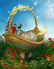 Картинки Праздники Пасха Птицы Яйца Корзина Бантик 3D Графика