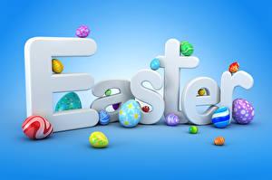 Картинка Праздники Пасха Цветной фон Английская Яиц Разноцветные 3D Графика Еда