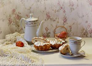 Фотография Праздники Пасха Чайник Выпечка Чашка Яйца Продукты питания