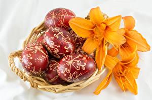 Картинка Праздники Пасха Лилии Корзина Яйца Дизайн