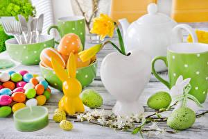 Фото Праздники Пасха Кролики Сладости Свечи Нарциссы Яйца
