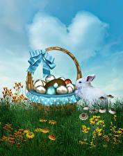 Картинки Праздники Пасха Кролики Корзинка Яйца Трава Бантик