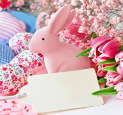 Обои Праздники Пасха Тюльпаны Кролики Шаблон поздравительной открытки Яйцами