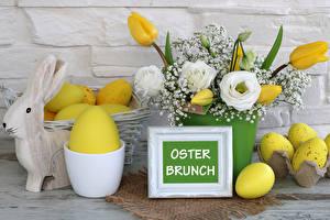Фотографии Праздники Пасха Тюльпан Роза Лизантус Кролики Яйца Немецкий Цветы