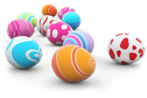 Картинки Праздники Пасха Белый фон Яйца Дизайн 3D Графика