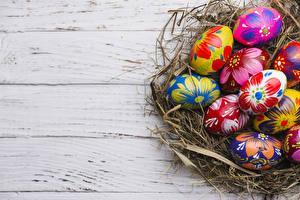 Фотографии Праздники Пасха Доски Яйца Гнездо Дизайн