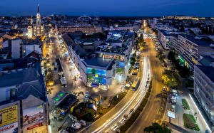 Фотография Здания Вечер Дороги Сербия Улица Novi Sad Juzhna Bachka Города
