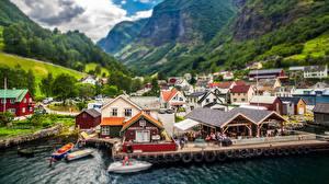 Обои Дома Норвегия Пристань Деревня Undredal Города