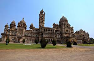 Фото Индия Здания Дворец Дизайн Кусты Laxmi Vilas Palace