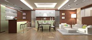 Обои Интерьер Дизайн Гостиная Стол Диван Кресло Стулья 3D Графика