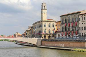 Картинки Италия Дома Мосты Водный канал Pisa