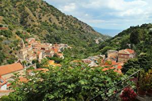 Фотографии Италия Сицилия Дома Горы Ветки Города
