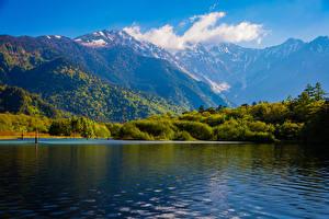 Фотографии Япония Горы Озеро Леса Taisho Pond Matsumoto Природа