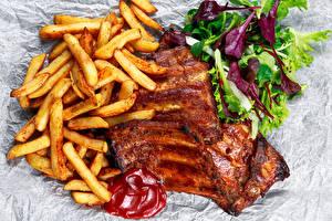Фотографии Мясные продукты Картофель фри Овощи Кетчуп