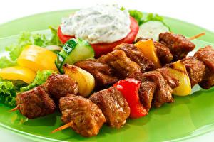 Фото Мясные продукты Шашлык Овощи