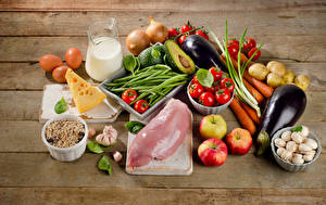 Обои Мясные продукты Овощи Молоко Сыры Грибы Яблоки Доски Кувшин Яиц Пища