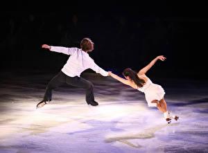 Фотографии Мужчины Лед Танцует 2 Спина Каток Спорт Девушки