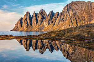Картинка Норвегия Берег Утес Senja Island Природа