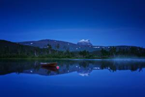 Фотографии Норвегия Реки Лодки Ночные Холмы Sulitjelma Природа