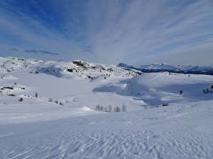 Фото Норвегия Зимние Снег Холмы Slettebakken Природа