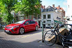 Обои Opel Красный Металлик 2011-15 Ampera Автомобили
