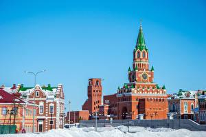 Фотография Россия Здания Зимние Дизайн Снег Уличные фонари Yoshkar-Ola Города