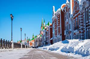 Картинки Россия Здания Зимние Улица Снег Уличные фонари Дизайн Yoshkar-Ola Города