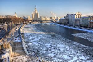 Фотография Россия Москва Здания Речка Зимние Лед Лестница Водный канал Zaryadye Города