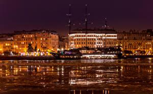Фото Россия Санкт-Петербург Дома Пристань Зима Водный канал Ночные Города