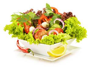 Фотографии Салаты Овощи Перец овощной Лимоны Белый фон Продукты питания