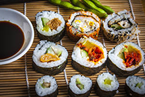 Обои Морепродукты Суси Рис Продукты питания