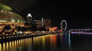 Обои Сингапур Здания Речка Ночные