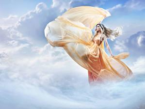 Обои Небо Облако Платье Блондинок молодые женщины