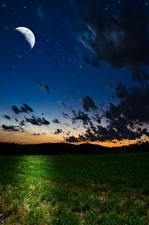 Фотографии Небо Поля Полумесяц Ночью Луны Облака Природа