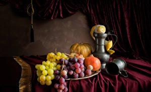 Картинки Натюрморт Виноград Гранат Тыква Лимоны Чашка Кувшин Пища