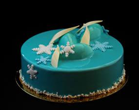Картинки Сладости Торты Черный фон Дизайн Голубой Снежинки Пища